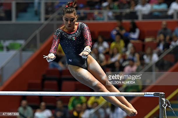 Ahtziri Sandoval of Mexico competes during the Women's Uneven Bars Final of the Artistic Gymnastics World Challenge Cup at the Ibirapuera coliseum in...