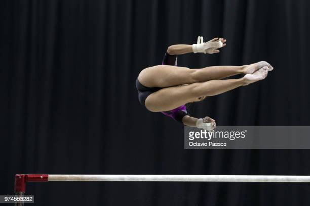 Ahtziri Sandoval of Mexico competes on the uneven bars during the Artistic Gymnastics World Challenge Cup on June 14 2018 in Guimaraes Portugal