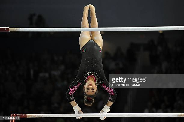 Ahtziri Sandoval of Mexico performs in the final of Women's Uneven Bars at the 2015 Pan American Games in Toronto Canada on July 14 2015 AFP...