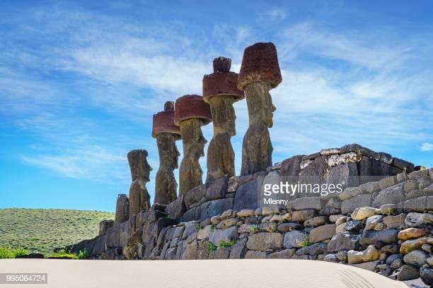 ahu nau nau moias anakena beach moai easter island rapa nui - easter beach stock pictures, royalty-free photos & images