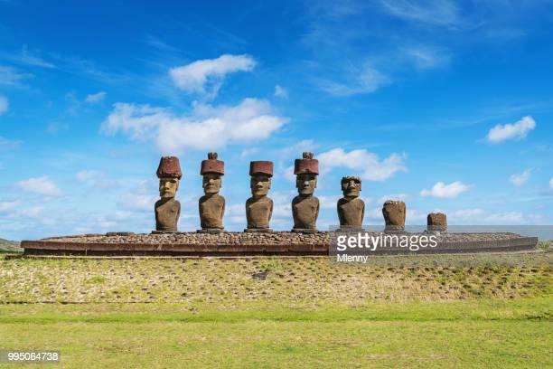Ahu Nau Nau Moias van Anakena Beach Moai Pasen eiland Rapa Nui