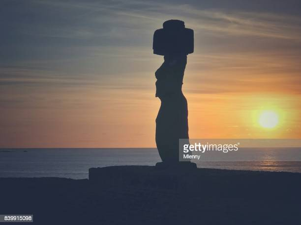 Ahu Tahai Moai Silhouette Hanga Roa Rapa Nui
