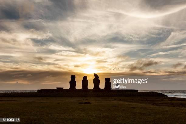 Ahu Tahai Moai Statues at Sunset, Easter Island