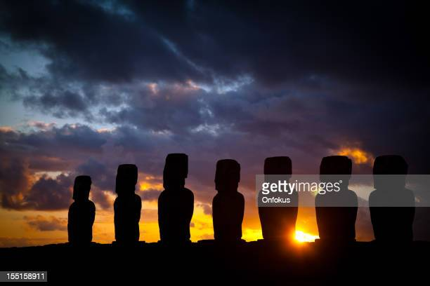 Ahu Tongariki Moais at Sunrise on Easter Island, Chile
