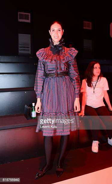 Ahu Yagtu attends the Bora Aksu show during the MercedesBenz Fashion Week Istanbul Autumn/Winter 2016 at Zorlu Center on March 15 2016 in Istanbul...