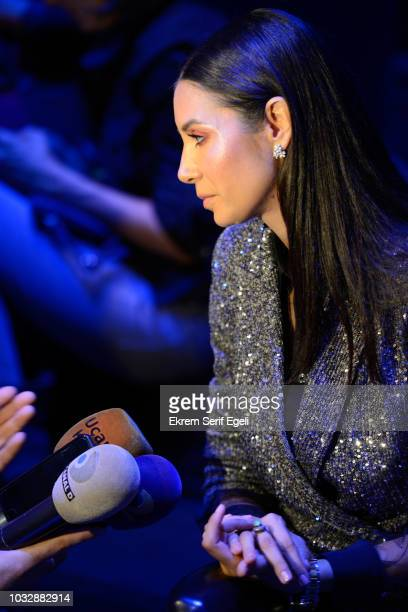 Ahu Yagtu attends the MercedesBenz Istanbul Fashion Week at Zorlu Center on September 13 2018 in Istanbul Turkey