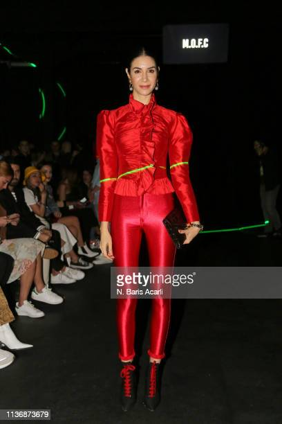 Ahu Yagtu attends the MOFC Eda Gungor show during the MercedesBenz Fashion Week Istanbul March 2019 at Zorlu Center on March 19 2019 in Istanbul...