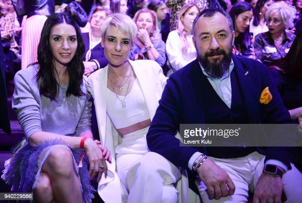 Ahu Yagtu Zeynep Uner and guest attends the Zeynep Tosun show during Mercedes Benz Fashion Week Istanbul at the Zorlu Performance Hall on March 30...