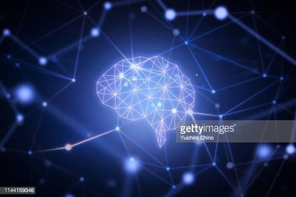 ai brain in network space - cerveau humain photos et images de collection