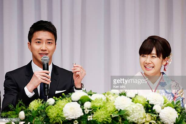 Ai Fukuhara of Japan and HungChieh Chiang of Chinese Taipei attend press conference on September 21 2016 in Tokyo Japan Japanese table tennis player...