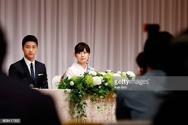Ai Fukuhara of Japan and Hung-Chieh Chiang of Chinese Taipei attend press conference on September 21, 2016 in Tokyo, Japan. Japanese table tennis...