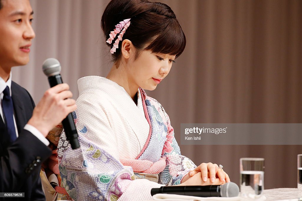 Ai Fukuhara of Japan attends press conference on September 21, 2016 in Tokyo, Japan. Japanese table tennis player Ai Fukuhara recently married Taiwanese table tennis player Hung-Chieh Chiang.