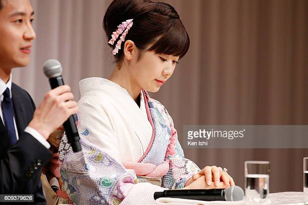 Ai Fukuhara of Japan attends press conference on September 21, 2016 in Tokyo, Japan. Japanese table tennis player Ai Fukuhara recently married...