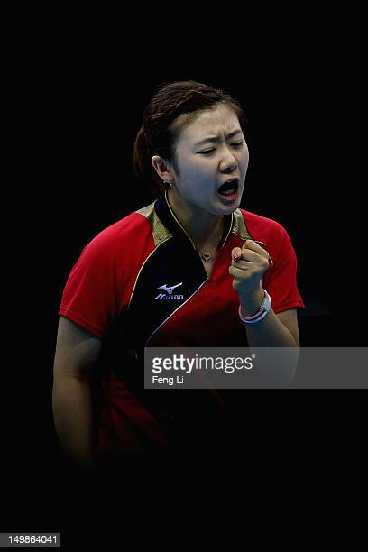 Ai Fukuhara of Japan celebrates during Women's Team Table Tennis semifinal match against team of Singapore on Day 9 of the London 2012 Olympic Games...