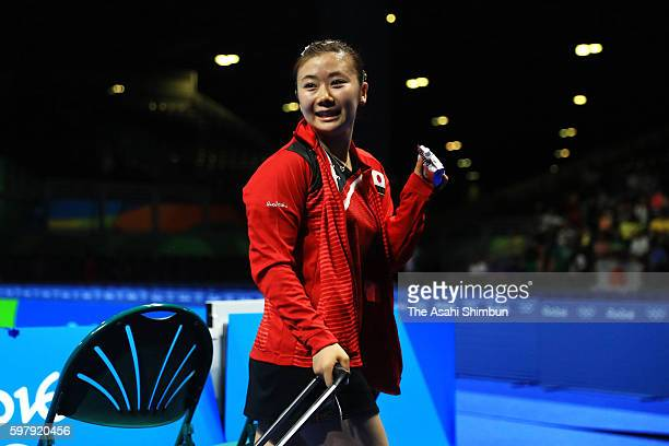 Ai Fukuhara of Japan celebrates winning against Tianwei Feng of Singapore during the Women's Singles Quarterfinal 4 Table Tennis on Day 4 of the Rio...