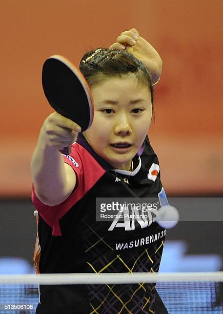 Ai Fukuhara of Japan competes against Kristin Silbereisen of Germany during the 2016 World Table Tennis Championship Women's Team Division...
