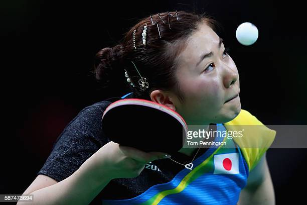 Ai Fukuhara of Japan competes against Myong Sun Ri of North Korea during Round 4 of the Women's Singles Table Tennis on Day 3 of the Rio 2016 Olympic...