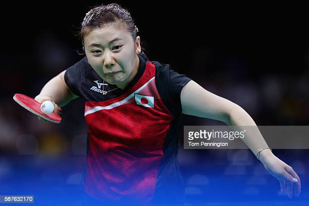 Ai Fukuhara of Japan competes against Tianwei Feng of Singapore during the Women's Singles Quarterfinal 4 Table Tennis on Day 4 of the Rio 2016...
