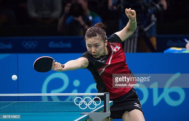 Ai Fukuhara of Japan competes against Tianwei Feng of Singapore during the Women's Singles Quarter final on fourth day of the Rio 2016 Olympic Games...