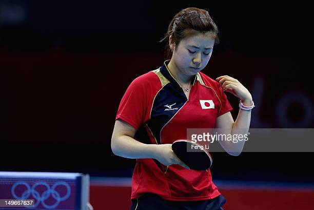 Ai Fukuhara of Japan competes during the Women's Singles Table Tennis quarterfinal match against Ning Ding of China on Day 4 of the London 2012...