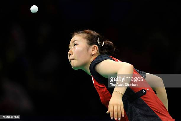 Ai Fukuhara of Japan competes in a match against Mengyu Yu of Singapore during the Women's Team Bronze Medal match on Day 11 of the Rio 2016 Olympic...