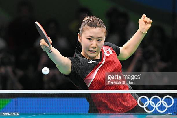 Ai Fukuhara of Japan competes in her Women's Table Tennis Bronze Medal match against Song I Kim of North Korea at Rio Centro on August 10 2016 in Rio...