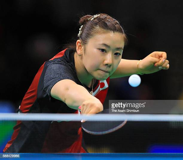 Ai Fukuhara of Japan competes in her Women's Table Tennis Bronze Medal match against Song I Kim of North Korea at Rio Centro on August 10, 2016 in...
