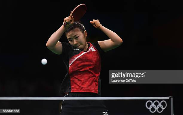 Ai Fukuhara of Japan in action during her Womens Table Tennis Bronze Medal match against I Song Kim of Democratic Peoples Republic of Korea at Rio...