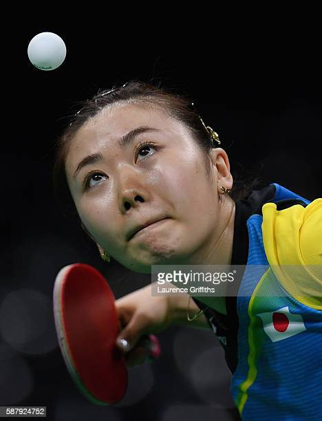 Ai Fukuhara of Japan in action during her Womens Table Tennis Singles Semi Final match against Xiaoxia Li of China at Rio Centro on August 10 2016 in...