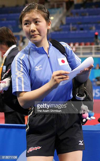 Ai Fukuhara of Japan leaves after her defeat in the Table Tennis Women's Singles fourth round match against Kim KyungAh of South Korea at the Galatsi...