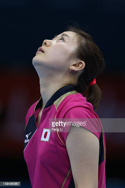 Ai Fukuhara of Japan looks on in her Women's Singles Table Tennis third round match against Anna Tikhomirova of Russia on Day 2 of the London 2012...