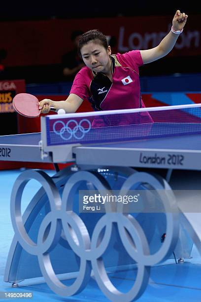 Ai Fukuhara of Japan plays a backhand in her Women's Singles Table Tennis third round match against Anna Tikhomirova of Russia on Day 2 of the London...