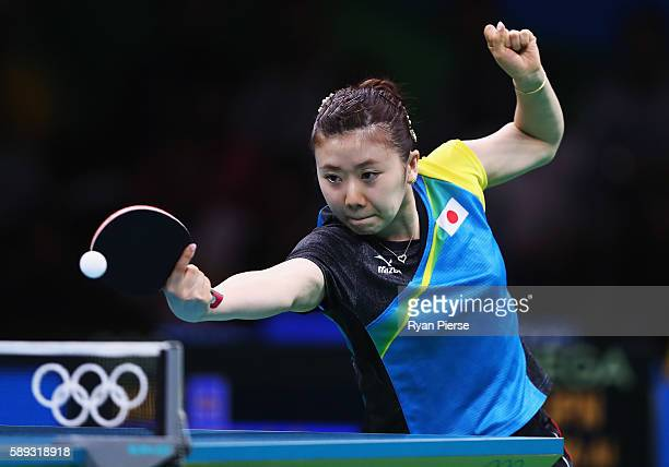 Ai Fukuhara of Japan plays a forehand during the Table Tennis Women's Team Round Quarter Final between Japan and Austria during Day 8 of the Rio 2016...