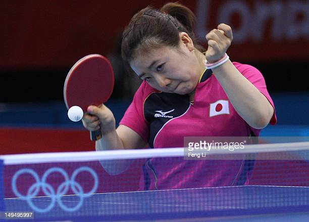 Ai Fukuhara of Japan plays a forehand in her Women's Singles Table Tennis third round match against Anna Tikhomirova of Russia on Day 2 of the London...