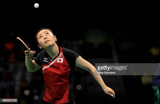 Ai Fukuhara of Japan plays a match against Mengyu Yu of Singapore during the Womens Team Bronze Medal match on Day 11 of the Rio 2016 Olympic Games...