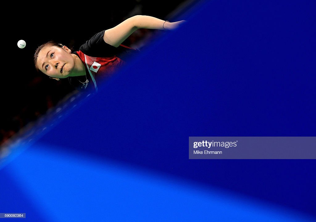 Ai Fukuhara of Japan plays a match against Mengyu Yu of Singapore during the Womens Team Bronze Medal match on Day 11 of the Rio 2016 Olympic Games at the Riocentro - Pavilion 3 on August 16, 2016 in Rio de Janeiro, Brazil.