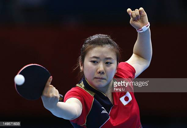 Ai Fukuhara of Japan plays a shot during the Women's Singles Table Tennis quarterfinal match against Ning Ding of China on on Day 4 of the London...