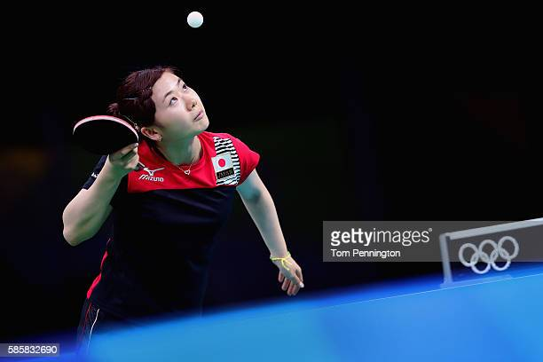 Ai Fukuhara of Japan practices during a training session for table tennis at Riocentro Pavilion 3 on August 4 2016 in Rio de Janeiro Brazil