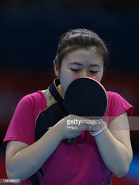 Ai Fukuhara of Japan prepares to serve in her Women's Singles Table Tennis third round match against Anna Tikhomirova of Russia on Day 2 of the...