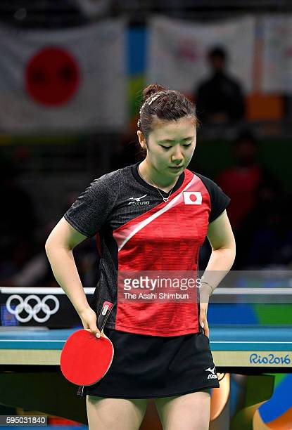 Ai Fukuhara of Japan reacts a point in a match against Mengyu Yu of Singapore during the Women's Team Bronze Medal match on Day 11 of the Rio 2016...