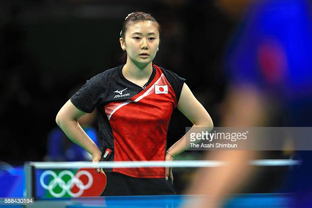 Ai Fukuhara of Japan reacts after losing a point during her Women's Table Tennis Bronze Medal match against Song I Kim of North Korea at Rio Centro...