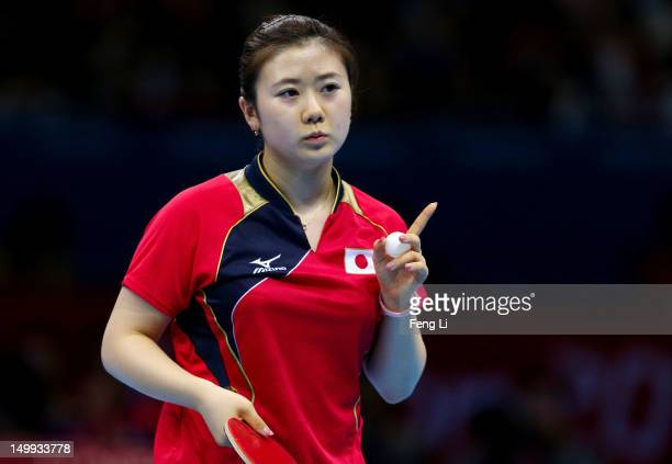 Ai Fukuhara of Japan reacts while competing against Xiaoxia Li of China during the Women's Team Table Tennis gold medal match on Day 11 of the London...