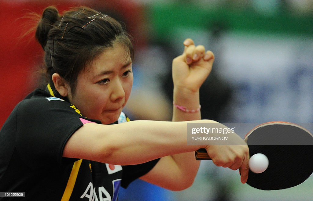 Ai Fukuhara of Japan returns a serve to Ding Ning of China during the women's semi final at the 2010 World Team Table Tennis Championships in Moscow on May 29, 2010.