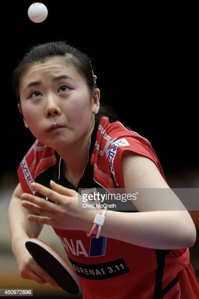 Ai Fukuhara of Japan serves against Li Fen of Sweden during their Women's Singles Quarter final match on day two of 2014 ITTF World Tour Japan Open...
