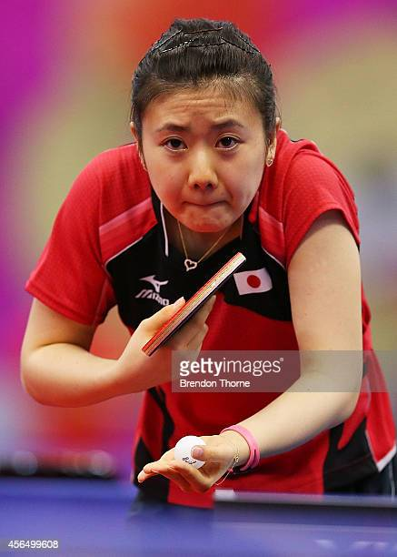 Ai Fukuhara of Japan serves in her Round of 16 Elimination Match against Chen Lee of Chinese Taipei during day thirteen of the 2014 Asian Games at...