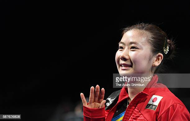 Ai Fukuhara of Japan waves to fans after her win against Daniela Monteiro Dodean of Romania during Round 3 of the Women's Singles Table Tennis on Day...