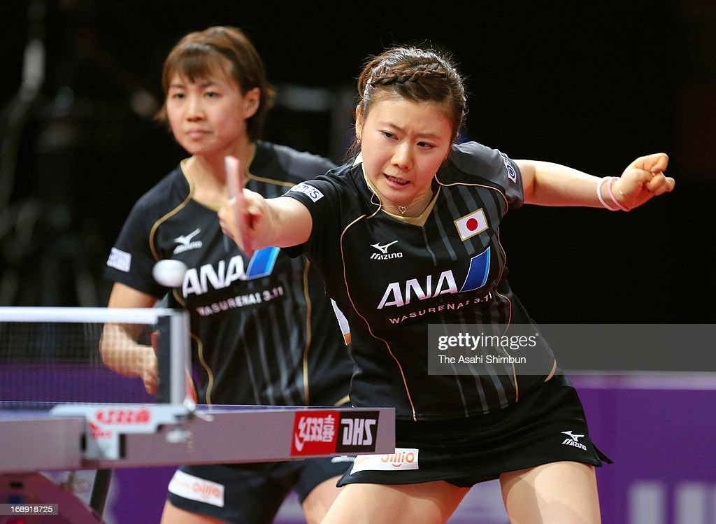 Ai Fukukara (R) and Sayaka Hirano of Japan compete against Chen Szu-Yu and Liu Hsing-Yin of Chienese Taipei in the Women's Doubles 2nd round during day four of the World Table Tennis Championships on May 16, 2013 in Paris, France.