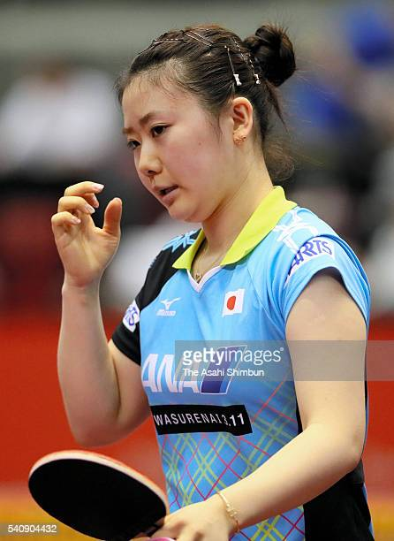 Ai Fukukara of Japan shows her frustration in her Women's Singles second round against Tie Yana of Hong Kong during day three of the ITTF Table...