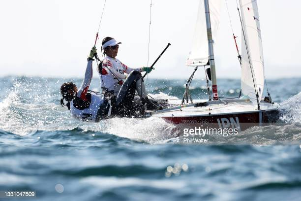 Ai Kondo Yoshida and Miho Yoshioka of Team Japan compete in the Women's 470 class race on day five of the Tokyo 2020 Olympic Games at Enoshima Yacht...