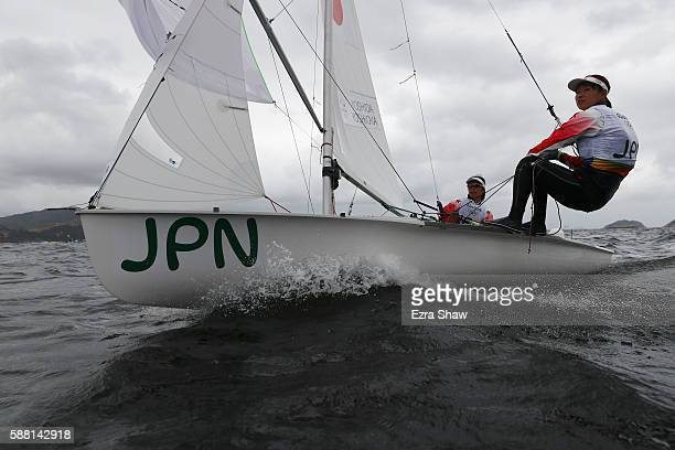 Ai Kondo Yoshida of Japan and Miho Yoshioka of Japan prepare to compete in the Women's 470 class on Day 5 of the Rio 2016 Olympic Games at the Marina...